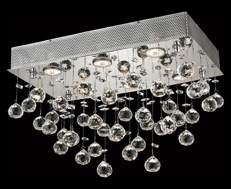 "Galaxy Collection 6-Light 12"" Chrome Flush Mount with Clear  Swarovski Strass Crystal 2021F20C/SS(LED)"