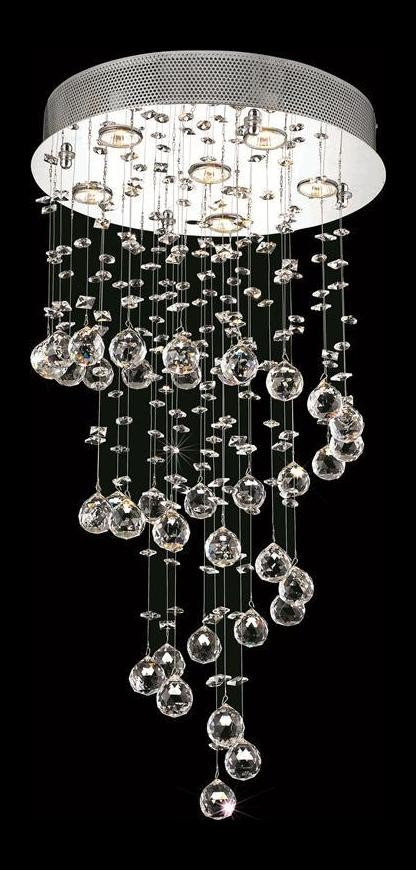 "Galaxy Collection 6-Light 18"" Chrome Flush Mount with Clear  Swarovski Strass Crystal 2024D18C/SS(LED)"
