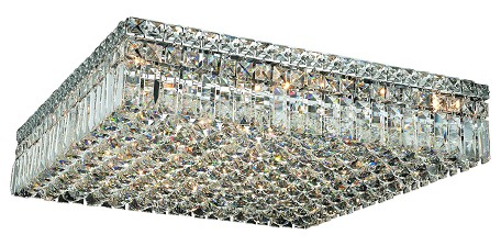 "Maxim Collection 13-Light 24"" Chrome Flush Mount with Clear Swarovski Spectra Crystal 2032F24C/SA"