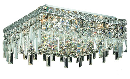 "Maxim Collection 6-Light 16"" Chrome Flush Mount with Clear  Swarovski Strass Crystal 2033F16C/SS"