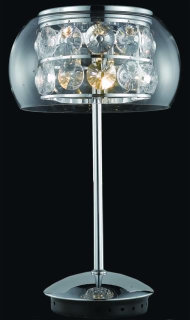 "Apollo Collection 3-Light 18"" Chrome Table Lamp with Clear Elegant Cut Crystal 2069TL11C/EC"