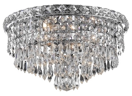 "Tranquil Collection 4-Light 14"" Chrome Flush Mount with Clear Swarovski Spectra Crystal 2526F14C/SA"