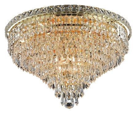"Tranquil Collection 10-Light 20"" Gold Flush Mount with Clear  Swarovski Strass Crystal 2526F20G/SS"