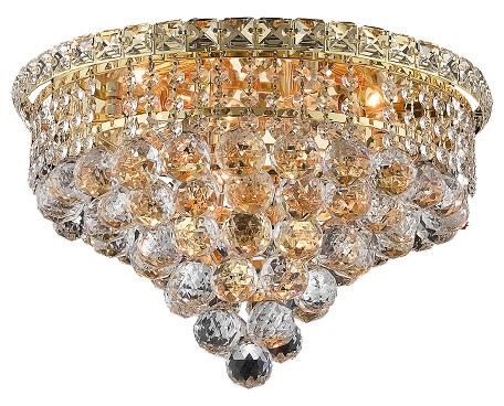 "Tranquil Collection 6-Light 16"" Gold Flush Mount with Clear  Swarovski Strass Crystal 2527F16G/SS"