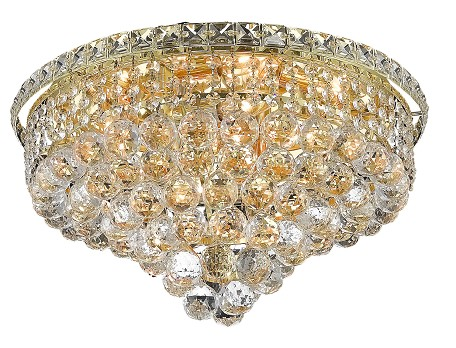 "Tranquil Collection 8-Light 18"" Gold Flush Mount with Clear  Swarovski Strass Crystal 2527F18G/SS"