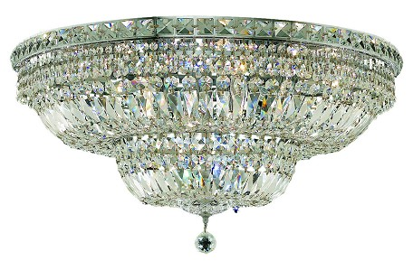 "Tranquil Collection 18-Light 30"" Chrome Flush Mount with Clear Elegant Cut Crystal 2528F30C/EC"