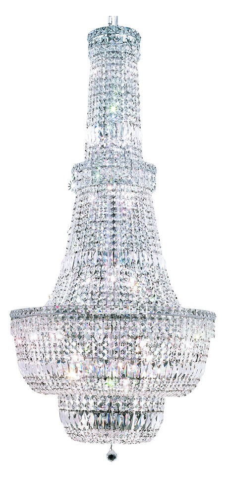 "Tranquil Collection 34-Light 28"" Chrome Chandelier with Clear Swarovski Spectra Crystal 2528G28C/SA"