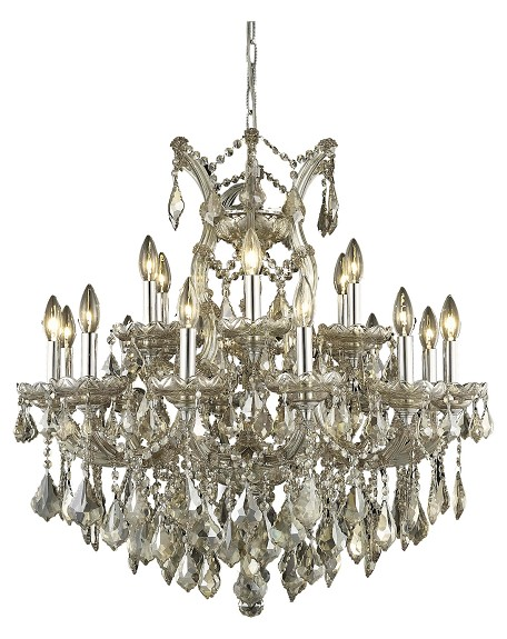 "Maria Theresa Collection 19-Light 30"" Golden Teak Chandelier with Golden Teak Smoky Swarovski Strass Crystal 2800D30GT-GT/SS"