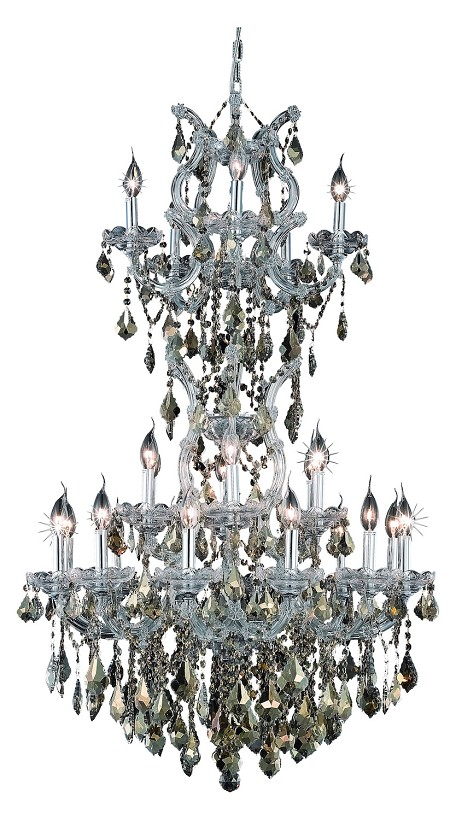 "Maria Theresa Collection 25-Light 30"" Chrome Chandelier with Golden Teak Smoky Swarovski Strass Crystal 2800D30SC-GT/SS"