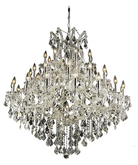 "Maria Theresa Collection 37-Light 44"" Chrome Chandelier with Clear Elegant Cut Crystal 2800G44C/EC"