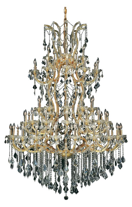 Elegant Cut Clear Crystal Maria Theresa 61-Light, Five-Tier Crystal Chandelier, Finished in Gold with Clear Crystals