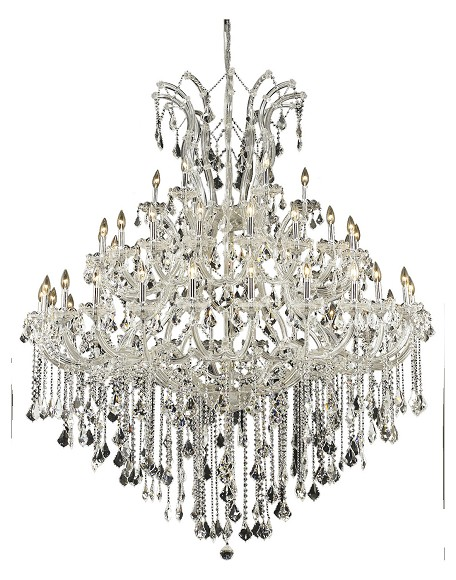Elegant Cut Clear Crystal Maria Theresa 49-Light, Three-Tier Crystal Chandelier, Finished in Chrome with Clear Crystals