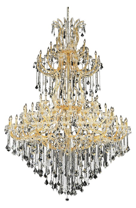Elegant Cut Clear Crystal Maria Theresa 85-Light, Five-Tier Crystal Chandelier, Finished in Gold with Clear Crystals