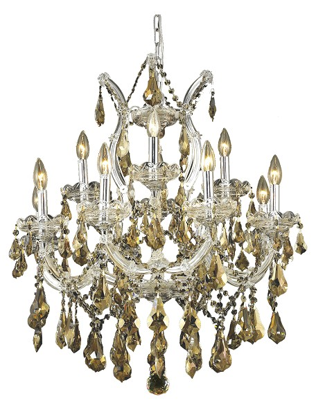 "Maria Theresa Collection 13-Light 27"" Chrome Chandelier with Golden Teak Smoky Swarovski Strass Crystal 2801D27C-GT/SS"