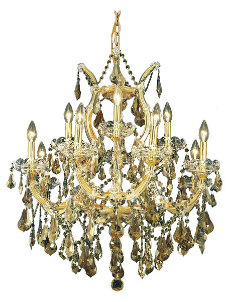 "Maria Theresa Collection 13-Light 27"" Gold Chandelier with Golden Teak Smoky Swarovski Strass Crystal 2801D27G-GT/SS"