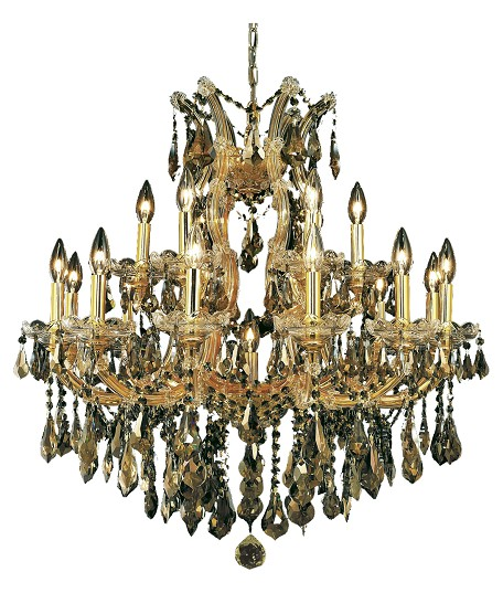 "Maria Theresa Collection 19-Light 30"" Gold Chandelier with Golden Teak Smoky Swarovski Strass Crystal 2801D30G-GT/SS"