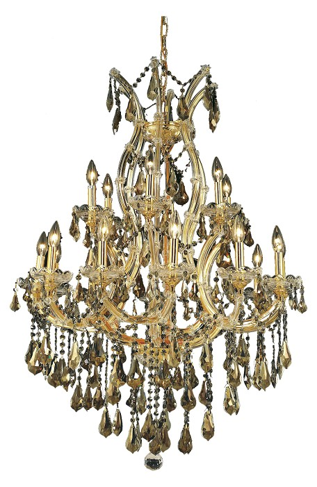 "Maria Theresa Collection 19-Light 32"" Gold Chandelier with Golden Teak Smoky Swarovski Strass Crystal 2801D32G-GT/SS"