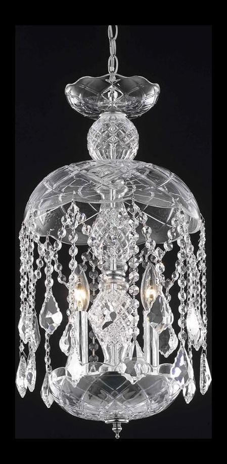 "Rococo Collection 3-Light 20"" Jet Black Mini Pendant Chandelier with Clear Crystal 7803D11B-JT/RC"