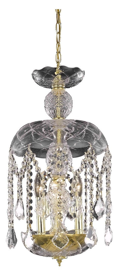 "Rococo Collection 3-Light 20"" Gold Mini Crystal Pendant Chandelier 7803D11G/RC"