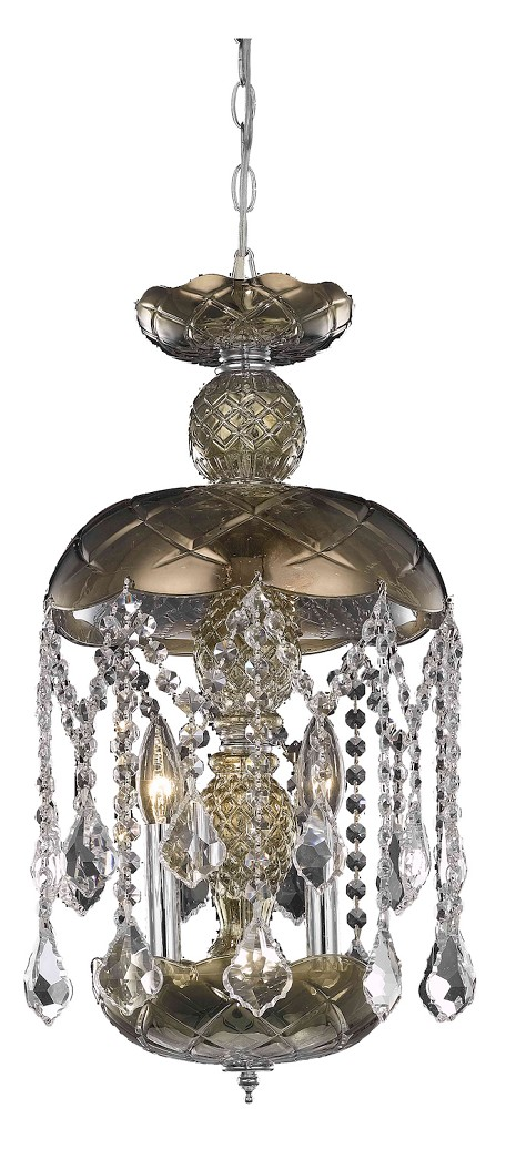"Rococo Collection 3-Light 20"" Golden Teak Smoky Mini Crystal Pendant Chandelier 7803D11GT/RC"