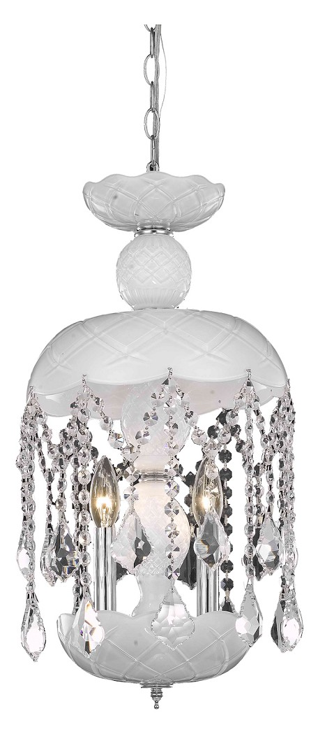 "Rococo Collection 3-Light 20"" White Mini Crystal Pendant Chandelier 7803D11WH/RC"