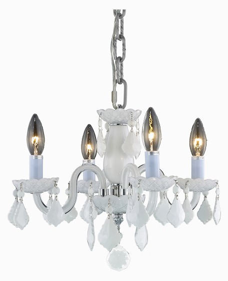 "Rococo Collection 4-Light 15"" Glossy White Glass Mini Crystal Chandelier 7804D15WH-WH/RC"