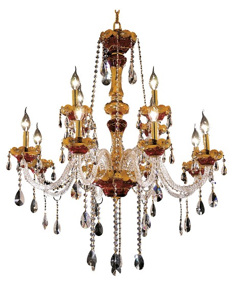 "Alexandria Collection 12-Light 33"" Gold Chandelier with Clear  Swarovski Strass Crystal 7810G33G/SS"