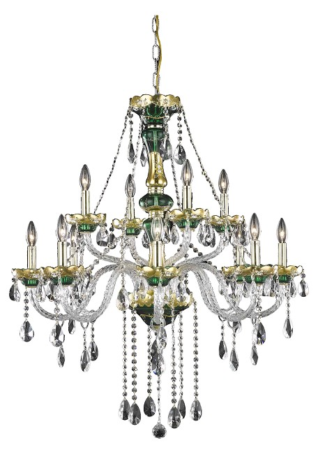 "Alexandria Collection 12-Light 33"" Gold Chandelier with Green Glass and Clear Elegant Cut Crystal 7810G33GN/EC"