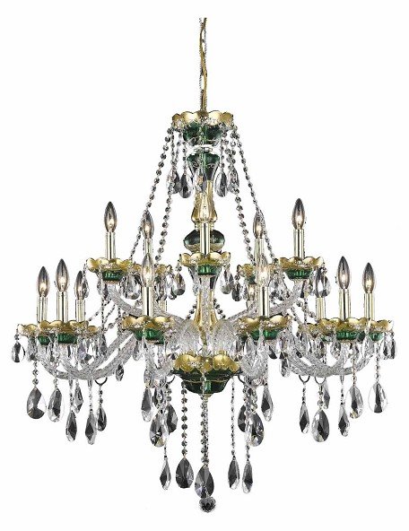 "Alexandria Collection 15-Light 35"" Gold Chandelier with Green Glass and Clear Elegant Cut Crystal 7810G35GN/EC"