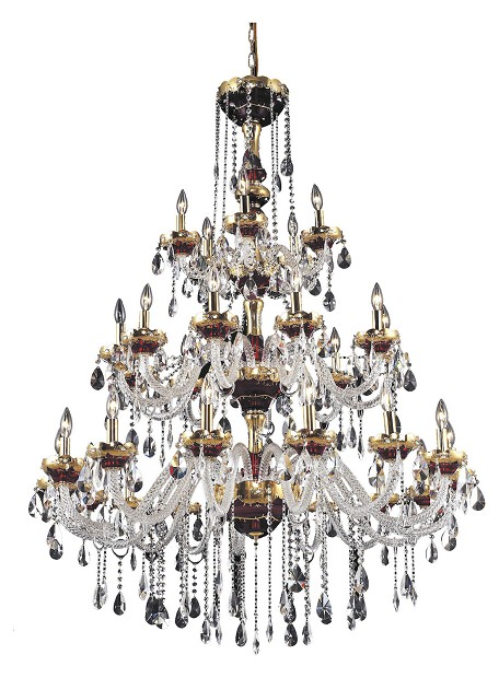Elegant Cut Clear Crystal Alexandria 30-Light, Three-Tier Crystal Chandelier, Finished in Gold with Clear Crystals