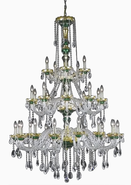 "Alexandria Collection 30-Light 45"" Gold Chandelier with Green Glass and Clear Royal Cut Crystal 7810G45GN/RC"
