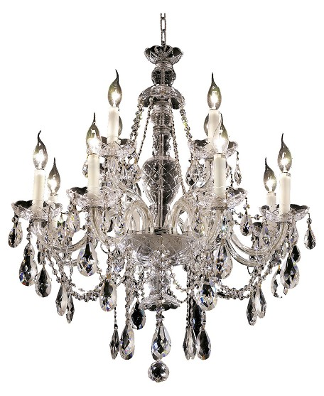 "Alexandria Collection 12-Light 28"" Chrome Chandelier with Clear Elegant Cut Crystal 7829D28C/EC"