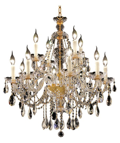 "Alexandria Collection 12-Light 28"" Gold Chandelier with Clear Swarovski Spectra Crystal 7829D28G/SA"