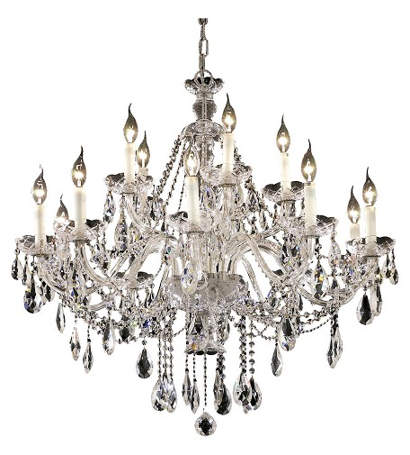"Alexandria Collection 15-Light 35"" Chrome Chandelier with Clear Elegant Cut Crystal 7829G35C/EC"