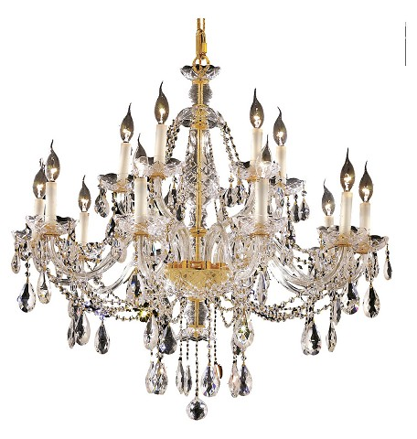 "Alexandria Collection 15-Light 35"" Gold Chandelier with Clear Elegant Cut Crystal 7829G35G/EC"