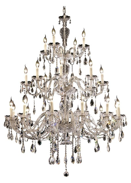 Elegant Cut Clear Crystal Alexandria 24-Light, Three-Tier Crystal Chandelier, Finished in Chrome with Clear Crystals