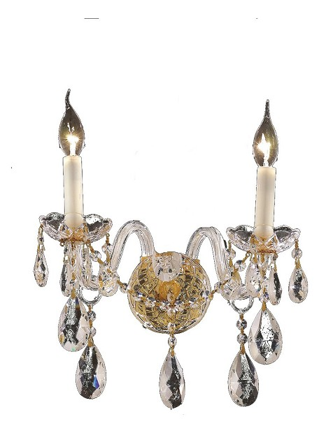 "Alexandria Collection 2-Light 13"" Gold Wall Sconce with Clear  Swarovski Strass Crystal 7829W2G/SS"