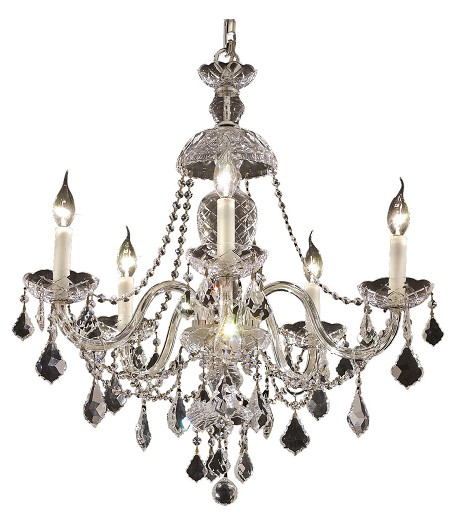 "Alexandria Collection 5-Light 25"" Chrome Chandelier with Clear Elegant Cut Crystal 7831D25C/EC"