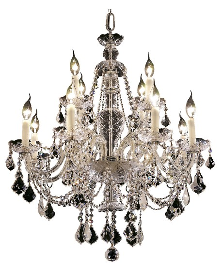 "Alexandria Collection 12-Light 28"" Chrome Chandelier with Clear Elegant Cut Crystal 7831D28C/EC"