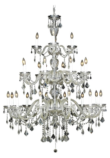 Elegant Lighting 7831G45C/Ss Swarovski Elements Clear Crystal Alexandria 24-Light, Three-Tier Crystal Chandelier, Finished In Chrome With Clear Crystals