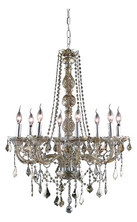 "Verona Collection 8-Light 28"" Golden Teak Chandelier with Golden Teak Smoky Swarovski Strass Crystal 7858D28GT-GT/SS"