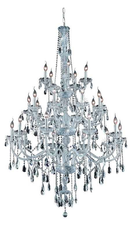 "Verona Collection 25-Light 43"" Chrome Chandelier with Clear Elegant Cut Crystal 7925G43C/EC"