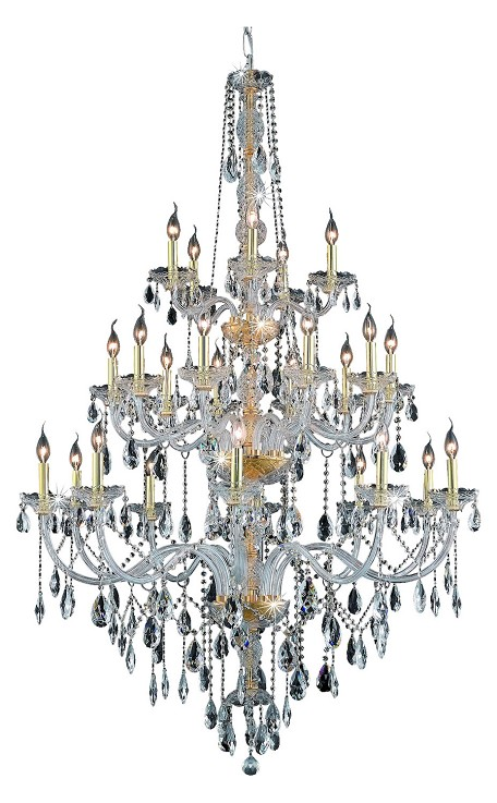 Elegant Cut Clear Crystal Verona 25-Light, Three-Tier Crystal Chandelier, Finished in Gold with Clear Crystals