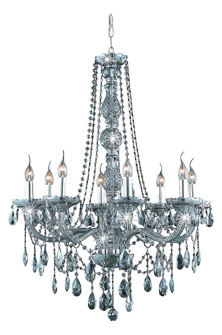"Verona Collection 8-Light 28"" Gray Chandelier with Silver Shade Grey Swarovski Strass Crystal 7958D28SS-SS/SS"