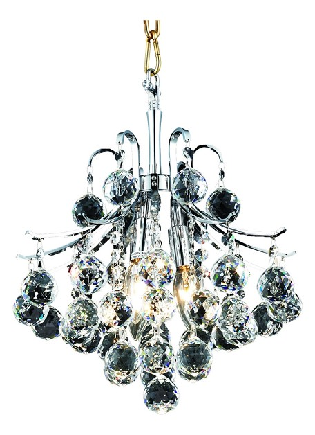 "Toureg Collection 3-Light 12"" Chrome Mini Chandelier with Clear  Swarovski Strass Crystal 8000D12C/SS"
