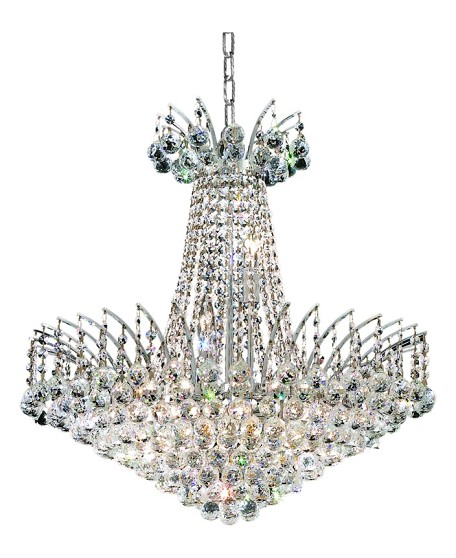 "Victoria Collection 11-Light 24"" Chrome Chandelier with Clear Elegant Cut Crystal 8031D24C/EC"