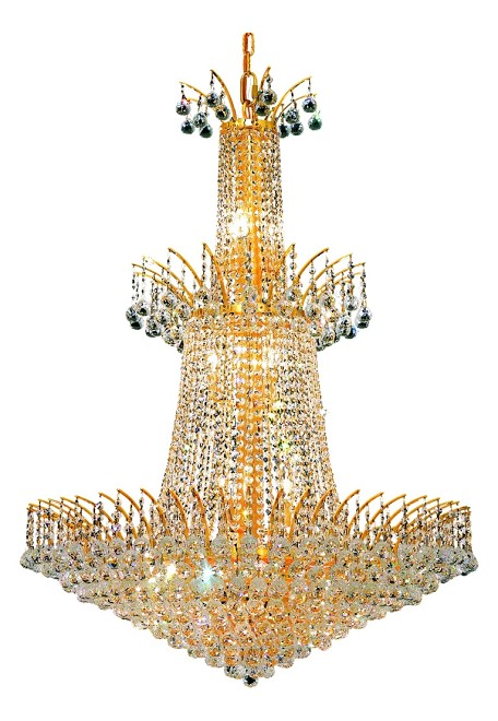 "Victoria Collection 18-Light 32"" Gold Chandelier with Clear Elegant Cut Crystal 8031G32G/EC"
