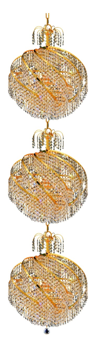 "Spiral Collection 30-Light 22"" Gold Chandelier with Clear  Swarovski Strass Crystal 8052G22G/SS"