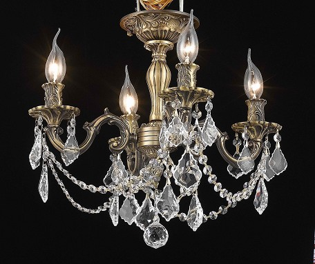 "Rosalia Collection 4-Light 17"" Antique Bronze Semi Flush Mount with Clear Elegant Cut Crystal 9204F17AB/EC"
