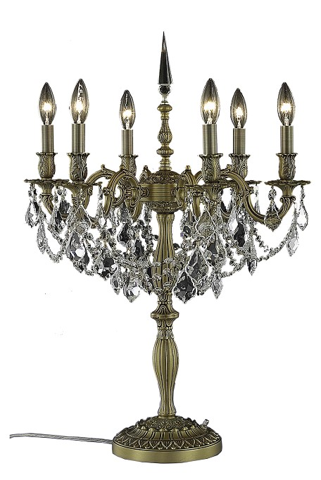"Rosalia Collection 6-Light 28"" French Gold Table Lamp with Elegant Cut Crystal 9206TL20FG/EC"